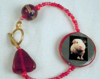 Unique Red Beaded GUINEA PIG Gold Toggle Bracelet - OOAK Handmade Photo Jewelry