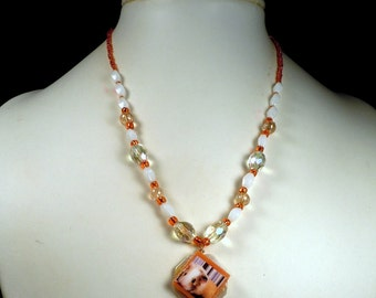 Orange Crystal BABY GUINEA PIG Beaded Photo Necklace - Moonstone Glass & Crystal Beading and Mother of Pearl Pendant