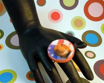 USA GUINEA PIG Photo Ring - Perfect for July 4th - Fully Adjustable Gold Band with Red Polymer Clay Face