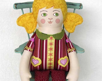 Handmade Blonde Girl Cloth Doll, Hand Painted Stuffed Art Toy, Personalized Hang Tag, 18 1/5 inch, Red, Gold, Yellow, Green, Ready-made