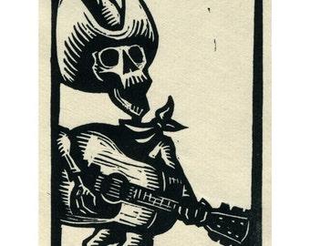 Calavera skeleton Guitarist original linocut