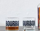 SALE! BOURBON - hand printed rocks glasses, dark gray print on old fashioned glass