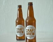 CUSTOM printed beer bottles - set of 72 screen printed brown glass bottles