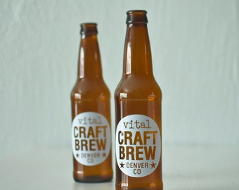 CUSTOM printed beer bottles - set of 48 screen printed brown glass bottles