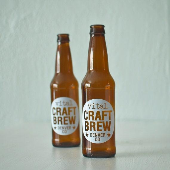 CUSTOM printed beer bottles - set of 72 screen printed brown glass bottles