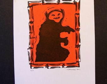 Creepy Goblin Original Orange and Black Halloween Art retro inspired limited edition linocut