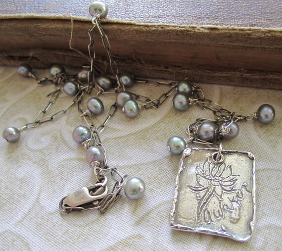 Awaken Lotus Pod and Pearl Sterling Silver Necklace