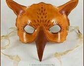 Sepia Gryphon handmade leather mask masquerade costume larp Halloween Mardi Gras griffin griffon