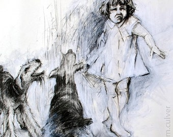 Distance - Portrait with Dogs - Giclee Print 8x10
