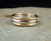 Sterling Silver - Rose Gold Filled and 14ct Yellow Gold filled Stacking Ring Set - Australian made