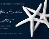 Wedding save the date Magnets -set of 150- WHITE STARFISH on navy blue