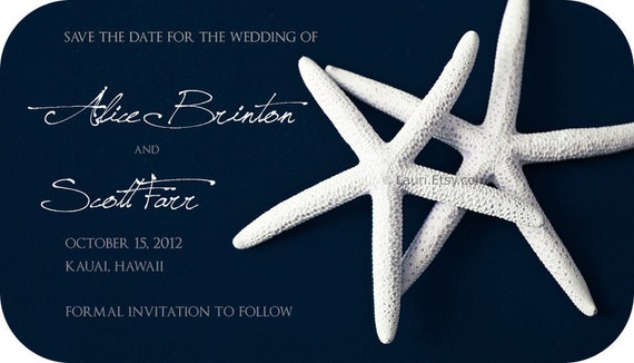 100 Wedding save the date Magnets - WHITE STARFISH on navy blue