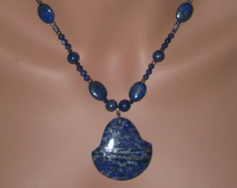 Lapis Lazuli and Sterling Silver Necklace and Earring Set - N260