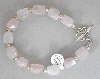 Rose Quartz Nuggets Bracelet - B65