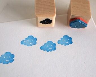 happy cloud -  rubberstamp - 20x20mm