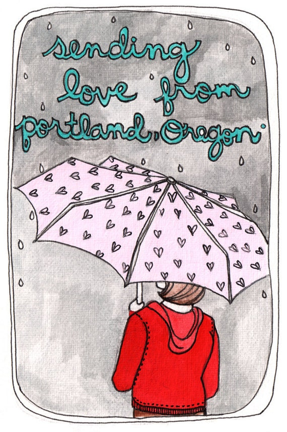 Set of Three Portland Oregon Postcards, Illustrated Portland Postcards, Portland Rain, Girl with Umbrella - Sending Love from Portland