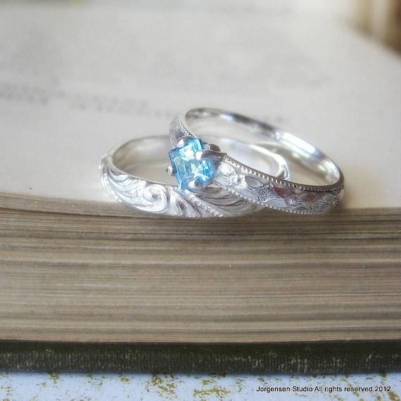 gemstone promise ring blue topaz alternative engagement or. Black Bedroom Furniture Sets. Home Design Ideas
