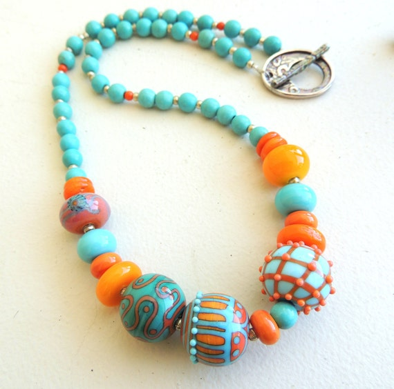 Artisan Lampwork and Turquoise Lampwork Necklace
