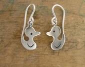Cute Duck Earrings - Sterling Silver Duckling Earrings - Rubber Ducky Earrings