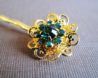 Green Swarovski Filigree Flower Hair Pin, Gold Plated with Emerald and Palace Green Opal Crystals - Holiday Hair Accessory, Bridal Accessory