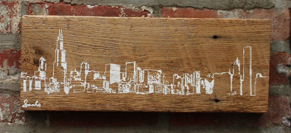Like this item? - Chicago Skyline Wall Hanging On Reclaimed Barn Wood