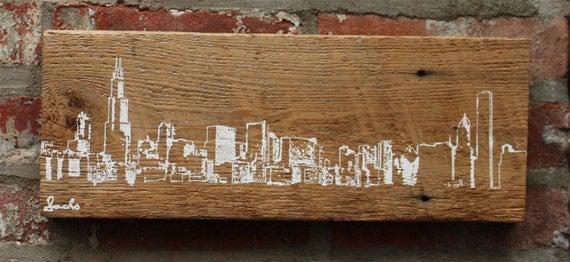 Chicago Skyline Wall Hanging on Reclaimed Barn Wood ... - Chicago Skyline Wall Hanging On Reclaimed Barn Wood