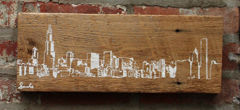 Chicago Skyline Wall Hanging On Reclaimed Barn Wood