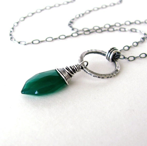 Green Onyx Necklace Gemstone Necklace Oxidized Sterling Silver Hammered Fine Silver Marquise Cut Stone
