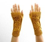 Swirl Fingerless Mitts. Hand Knit. Soft Merino Wool in Golden Sunflower. Spring / Fall / Winter / Hipster Fashion. Handmade in France.