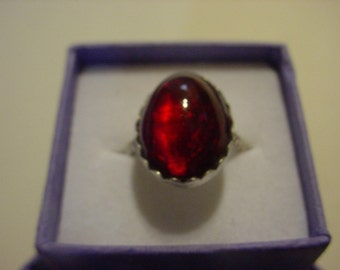 Garnet Red Ring  - sterling silver from eco friendly recycled sources - custom made in your size