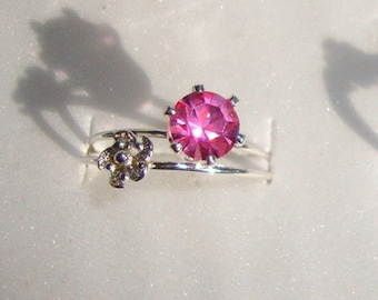 Ring Pink man made Sapphire - 6mm  eco-friendly recycled sterling silver - Custom Made in your Size -USA- September October