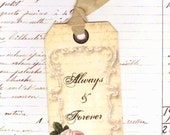 Vintage Style Wedding Tags Always and Forever Wishing Tree tags with Roses
