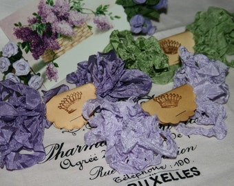 Seam Binding Crinkled , 18 Yds Purple , LILAC BUSH , Lavender Ribbon , Green Ribbon , Purple Seam Binding , Shabby Ribbon , Vintage Style