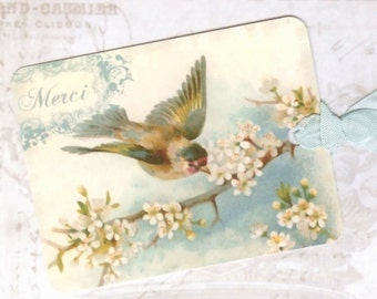 Gift Tags , Blue Bird  , Merci  , Vintage Style ,  by Bluebird Lane