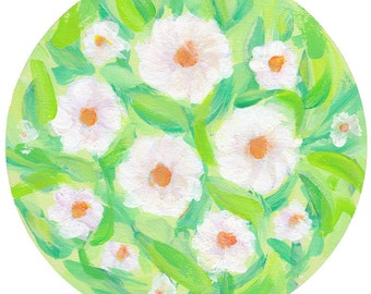 Sweet White Flowers on green painting