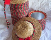 Set Christmas canisters hand made with christmas color cording- hat lids