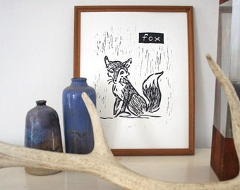 "fox linoleum block print - 9"" x 12"" wall art"