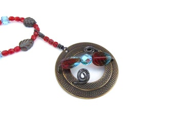 Red Blue  Vintage Necklace Repurposed Recycled Handmade Wire Wrapped Necklace Handmade Jewelry Upcycled #29