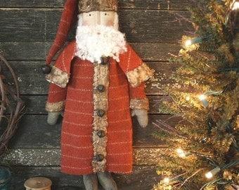 Primitive PATTERN - Christmas Folk Art Santa Doll Digital PDF Pattern
