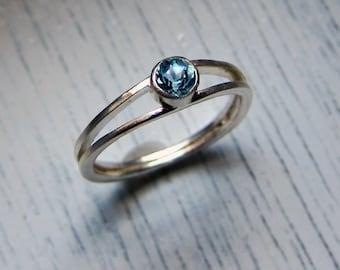 Aquamarine engagement ring, modern engagement ring, March birthstone ring, aquamarine ring silver promise ring Wishes custom