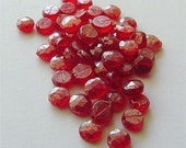 Red NAILHEADS BEADS Vintage Transparent Glass 6mm Full Strand lot of 24 sewons Czech
