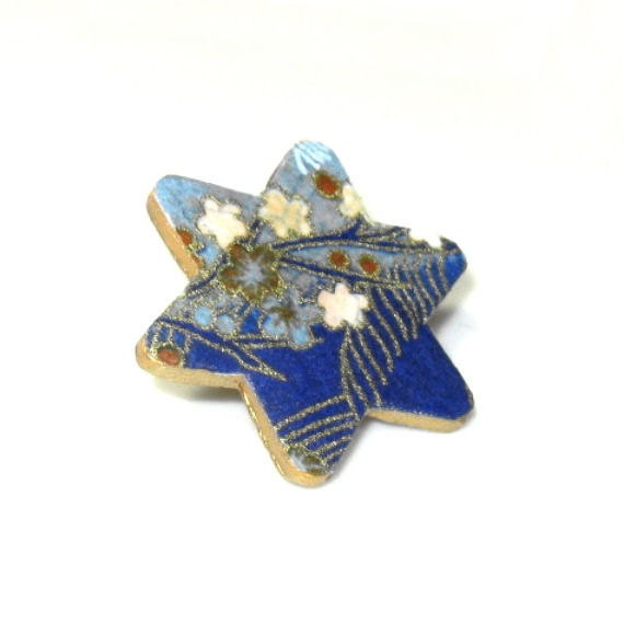 Blue Flower Brooch Floral Jewelry Japanese Chiyogami Paper Pin