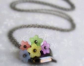 Pastel Floral Puffed Heart Pendant, Lucite Flower Cluster on Black Gunmetal Necklace, Handmade Heart Jewelry, Romantic Gift for Her