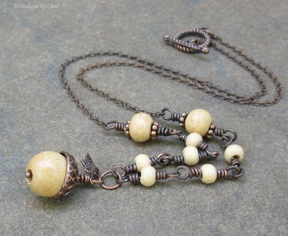 Wood Acorn Pendant & Tiny Leaf, Antiqued Copper Necklace, Vintage Wooden Beads... Autumn Jewelry