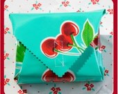 sandwich wrap - cloth napkin - place mat - eco - reusable - school lunch - office lunch - aqua with cherries