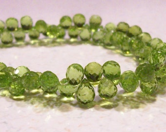 SALE - AA Peridot Faceted Full Briolette Beads - 5-6mm - 5 Beads
