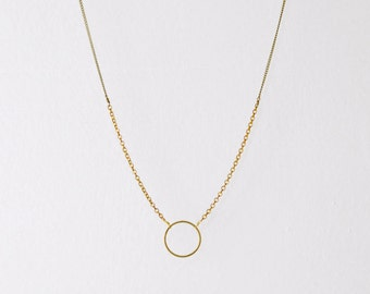 Long circle necklace - brass necklace - open circle necklace - minimalist necklace - ring necklace - antique brass necklace - Arena