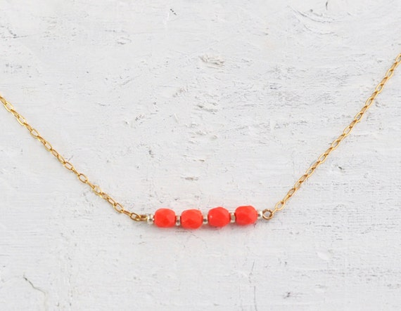 Icing necklace - coral orange beads on 14k gold filled chain - delicate jewelry