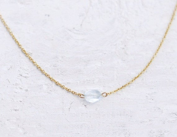 Aquamarine - tiny clear light blue oval gem necklace - simple minimal jewelry - edor women gift