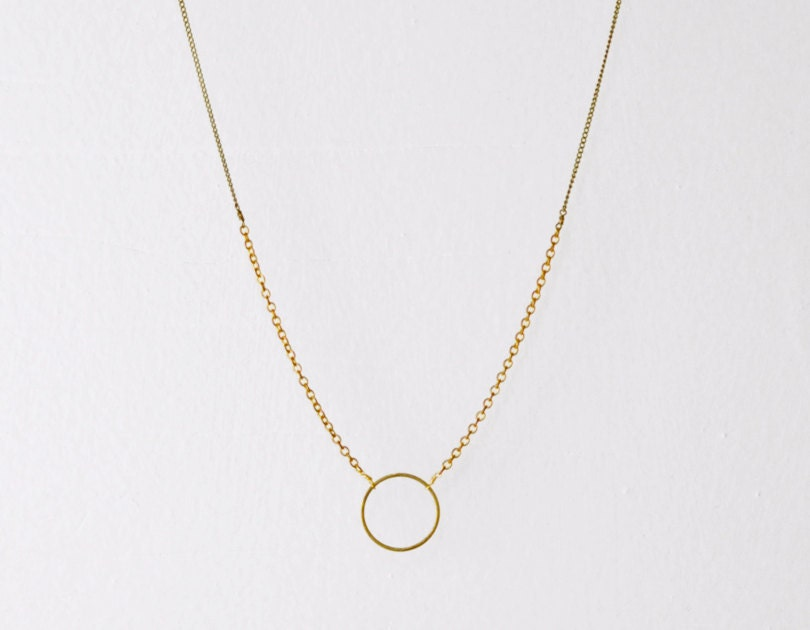 circle necklace brass necklace open circle necklace